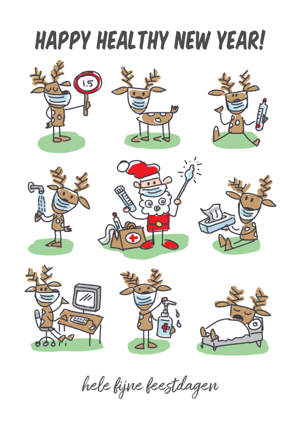 Kerstkaarten - Grappige kerstkaart met kerstman en rendieren met mondkapjes