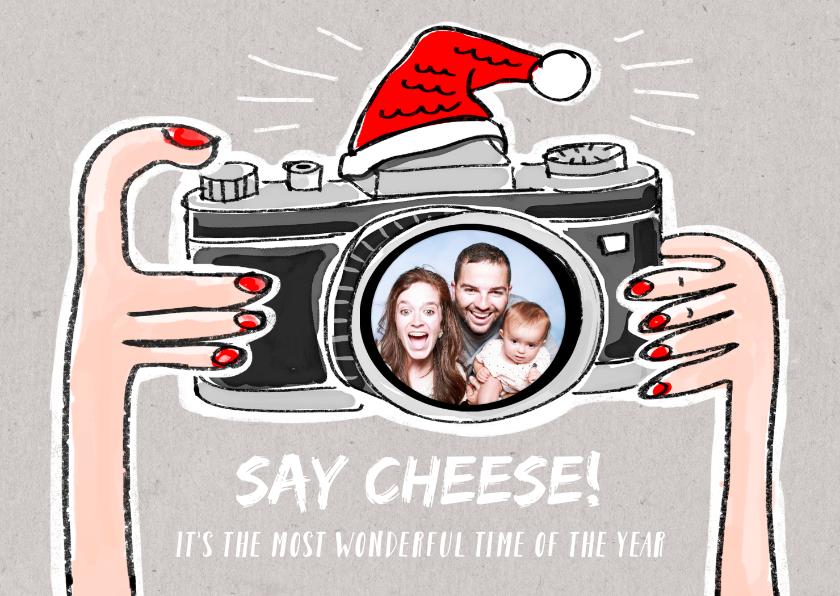 Kerstkaarten - Grappige kerstkaart met photo camera met kerstmuts