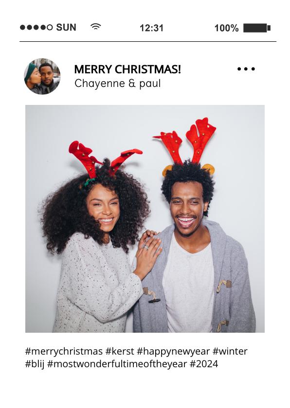 Kerstkaarten - Grappige social media kerstkaart tijdlijn met foto