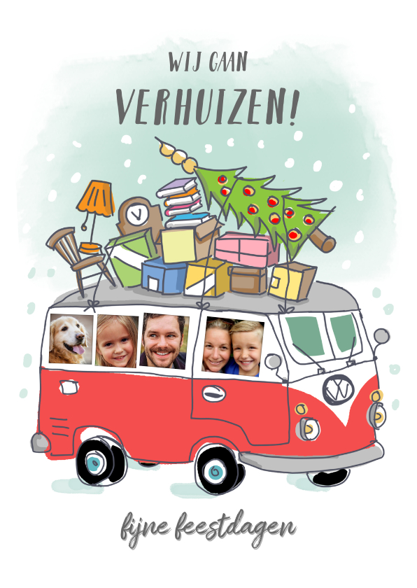 Kerstkaarten - Grappige verhuis kerstkaart met volkswagenbusje en foto's