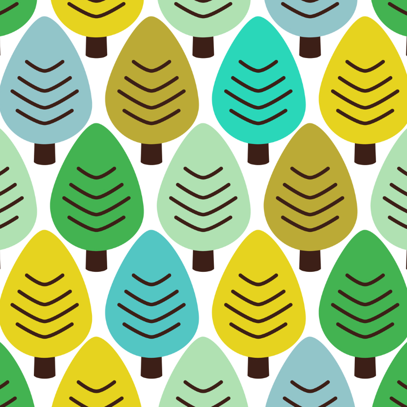 Kerstkaarten - Groen blauw retro bomen natuur patroon