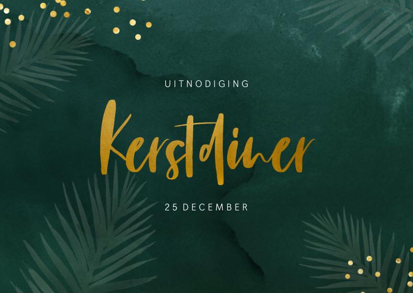 Kerstkaarten - Groene uitnodiging kerstdiner met kersttakjes en confetti