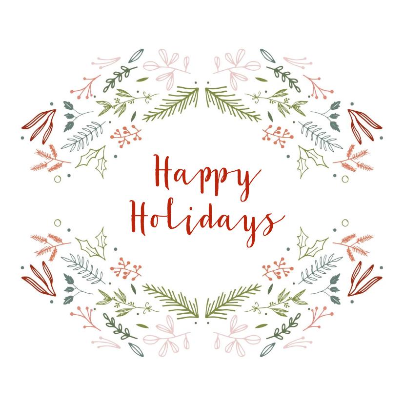 Kerstkaarten - Happy Holidays kaart met krans-elementen