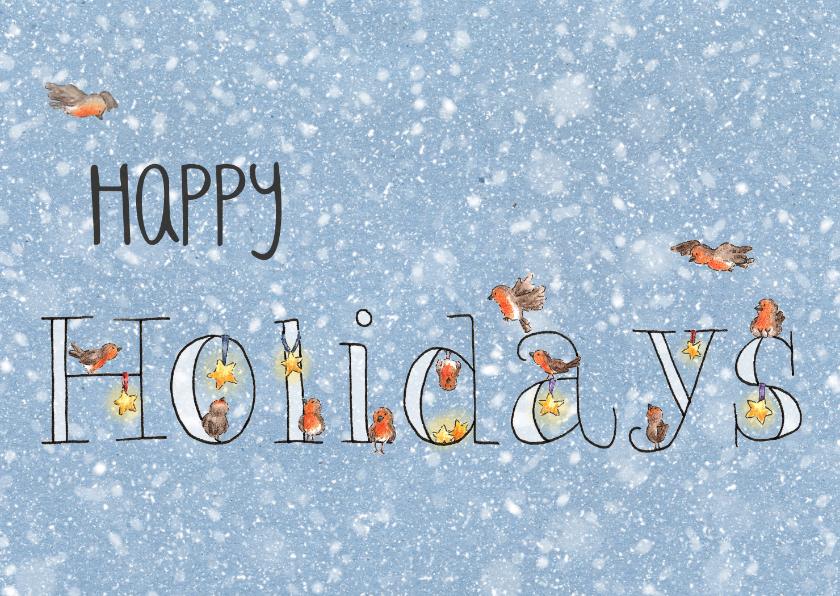 Kerstkaarten - Happy holidays roodborstjes kerstkaart