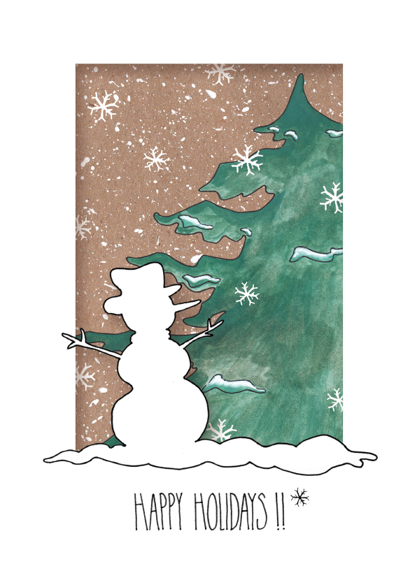 Kerstkaarten - Happy Holidays Sneeuwpop_LS