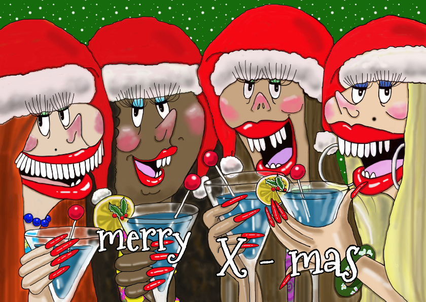 Kerstkaarten - Happy kerstcocktail