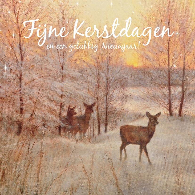 Kerstkaarten - Herten in het winterbos bij ondergaande zon
