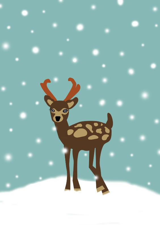 Kerstkaarten - Hertje in sneeuw