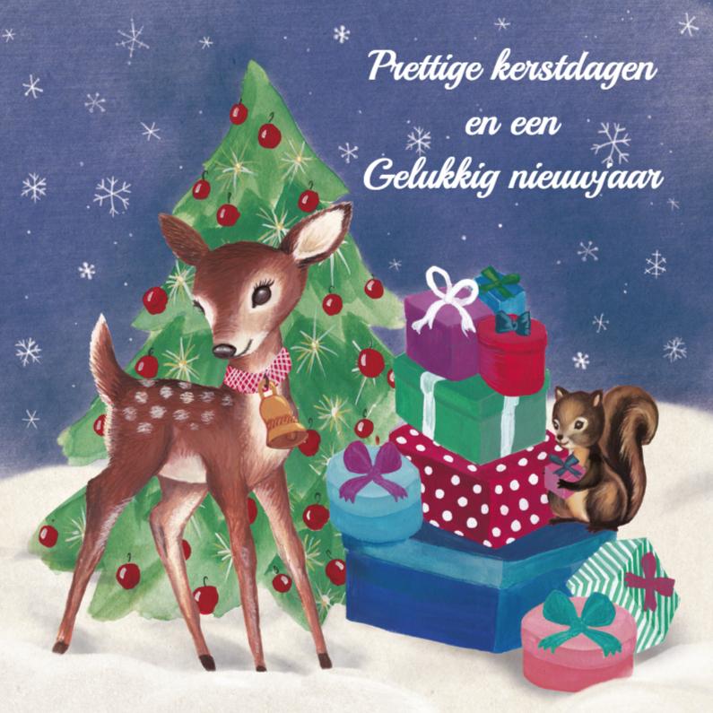 Kerstkaarten - Hertje  Met Cadeaus