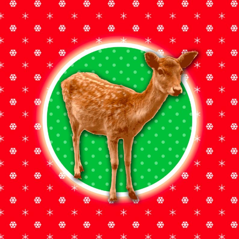 Kerstkaarten - Hertje retro kerstkaart rood groen