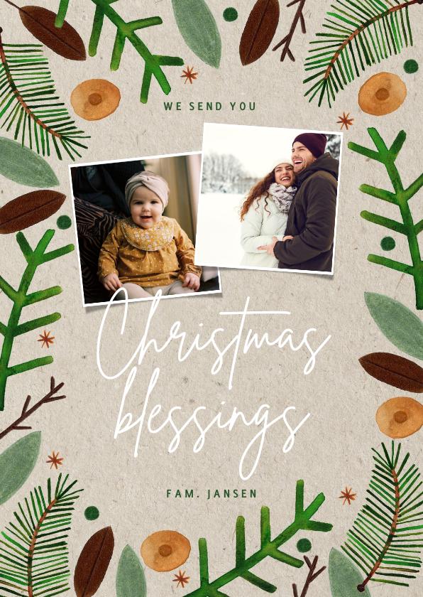 Kerstkaarten - Hippe Christmas Blessings kerstkaart groene takjes foto's