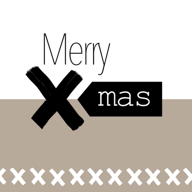 Kerstkaarten - Hippe eenvoudige kerstkaart Merry x-mas