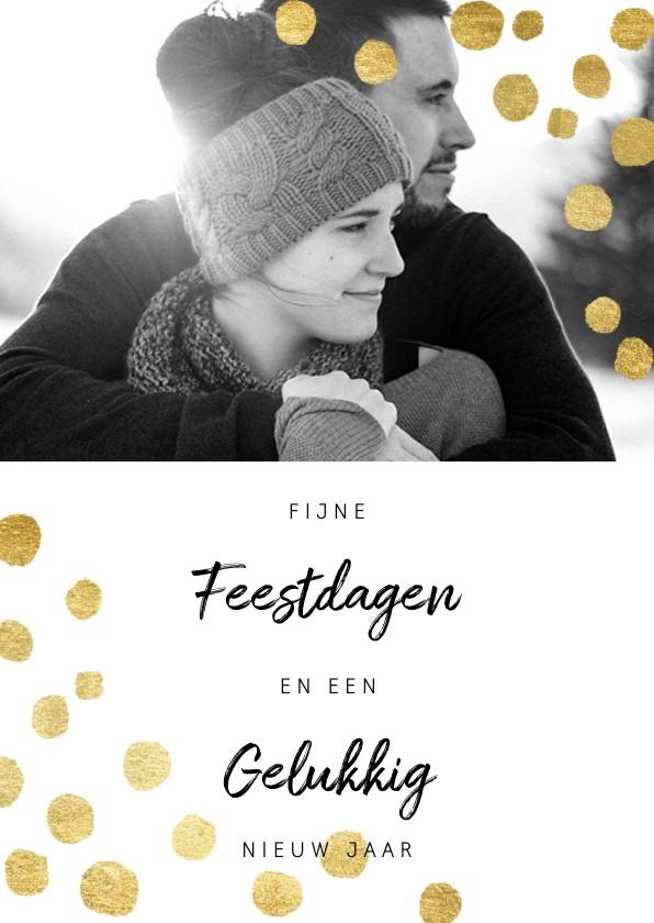 Kerstkaarten - Hippe en moderne kerstkaart met goudlook confetti