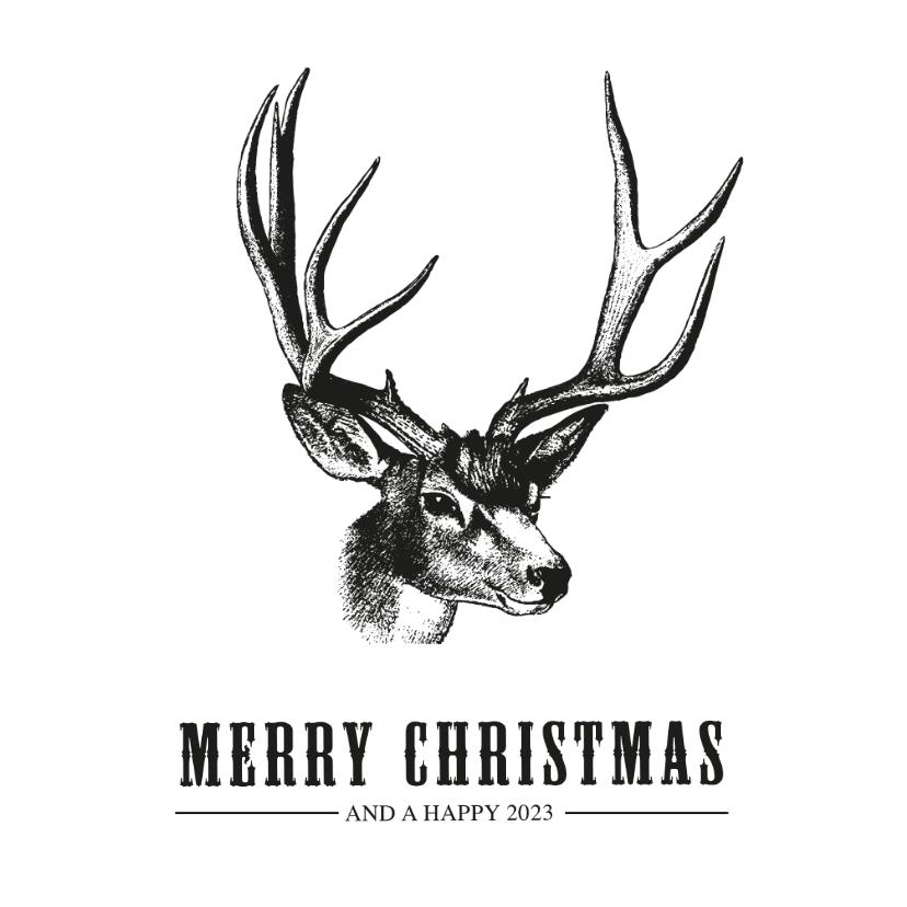 Kerstkaarten - Hippe en stoere vintage kerstkaart met tekening van een hert