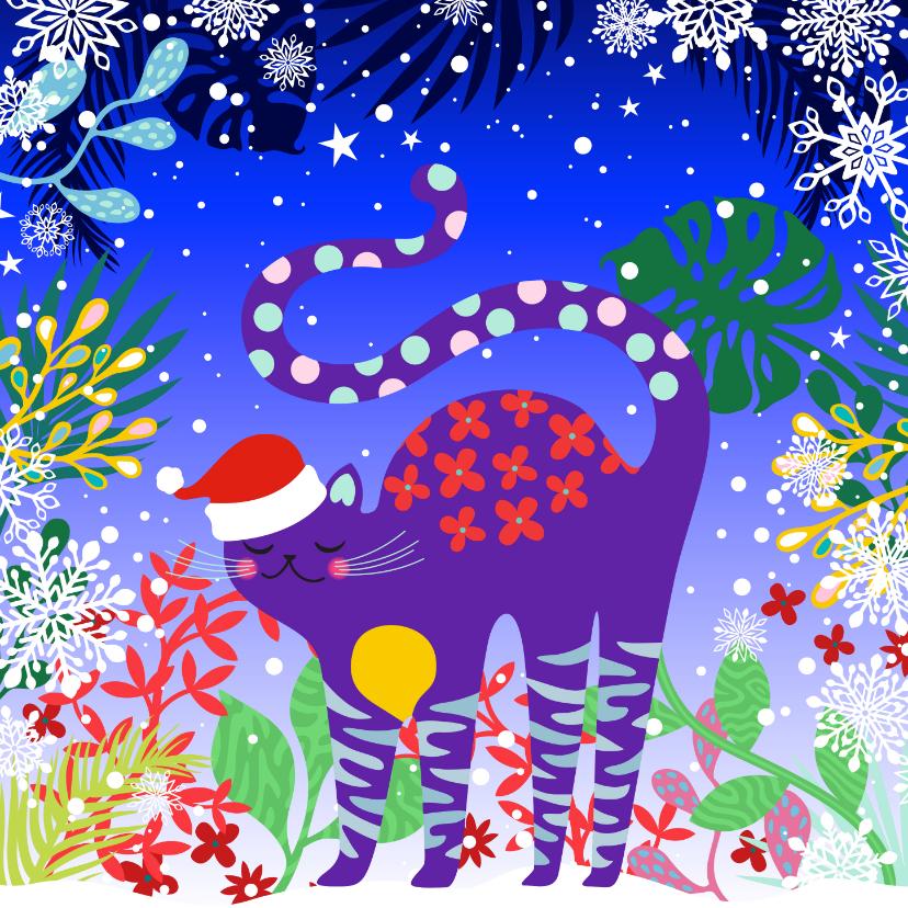 Kerstkaarten - Hippe en vrolijke kerstkaart met kat in de sneeuw