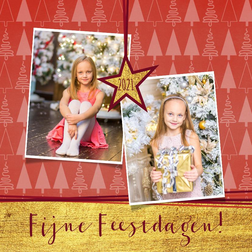 Kerstkaarten - Hippe foto kerstkaart goud rood kerstboom