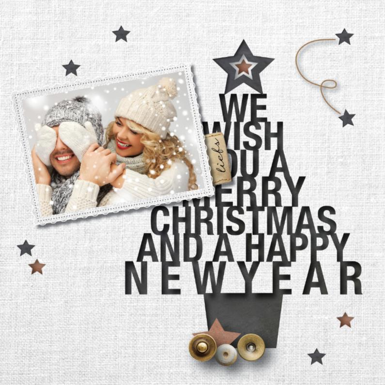 Kerstkaarten - hippe foto kerstkaart - linnenprint