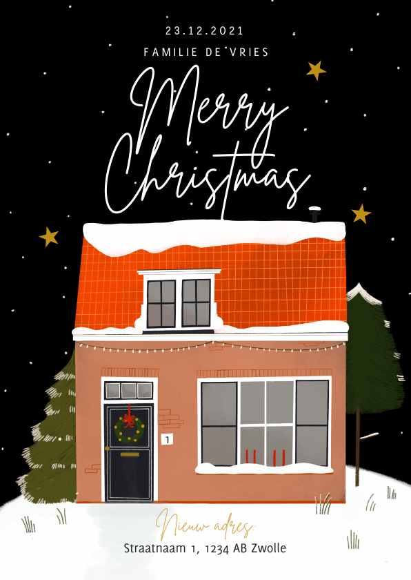 Kerstkaarten - Hippe kerst-verhuiskaart nieuwe woning sneeuw merrychristmas