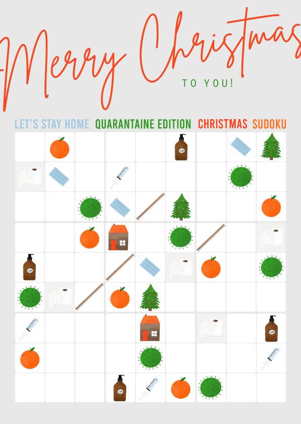 Kerstkaarten - Hippe kerstkaart corona quarantaine sudoku met illustraties