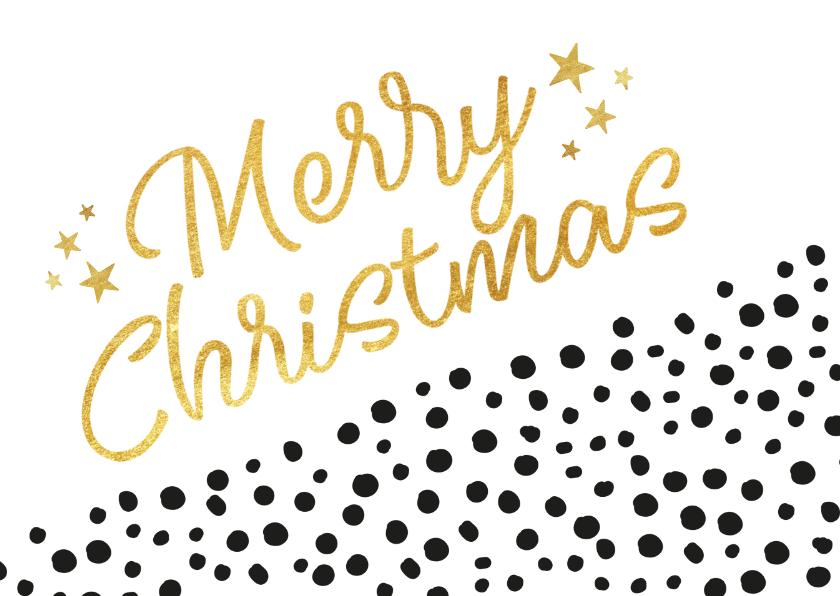 Kerstkaarten - Hippe kerstkaart diagonaal met zwarte stippen en goud