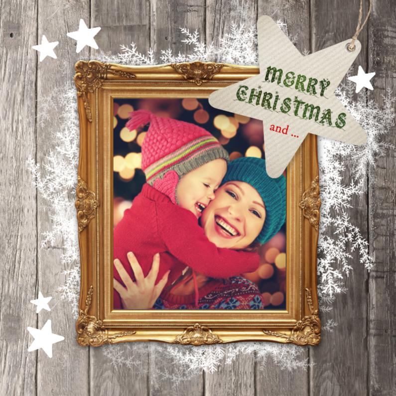 Kerstkaarten - Hippe kerstkaart fotolijst hout