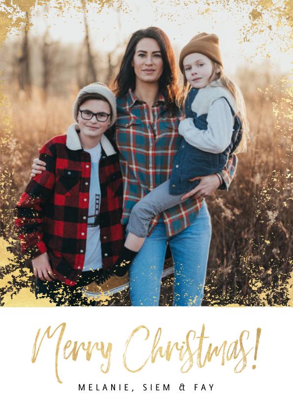 Kerstkaarten - Hippe kerstkaart grote foto, gouden kader & Merry Christmas