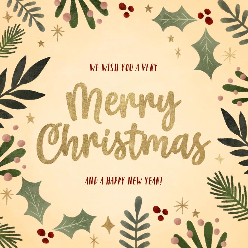 Kerstkaarten - Hippe kerstkaart kersttakjes kader gouden Merry Christmas