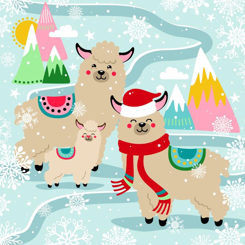 Kerstkaarten - Hippe kerstkaart met alpaca in de sneeuw