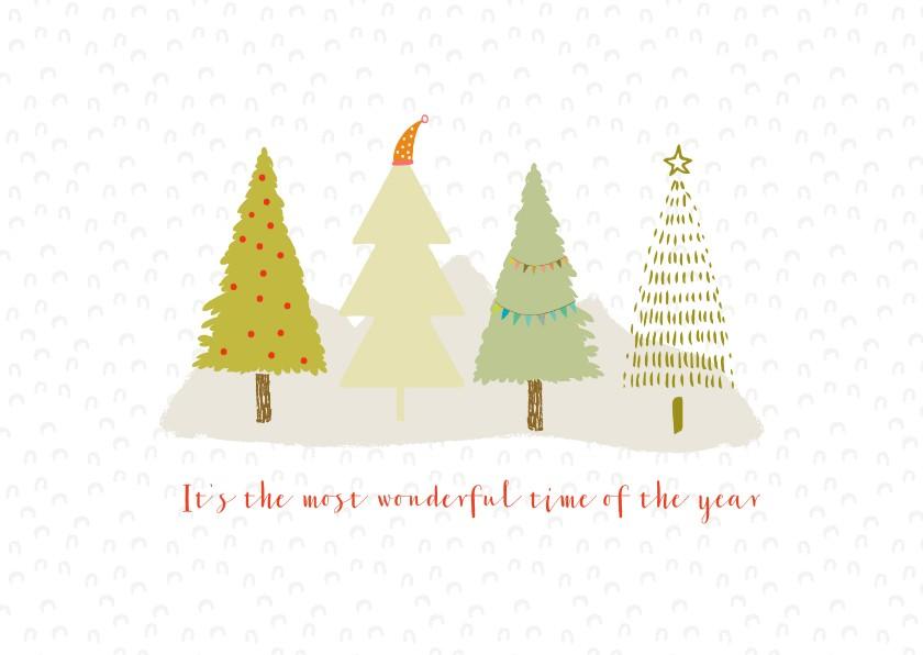 Kerstkaarten - Hippe kerstkaart met bomen