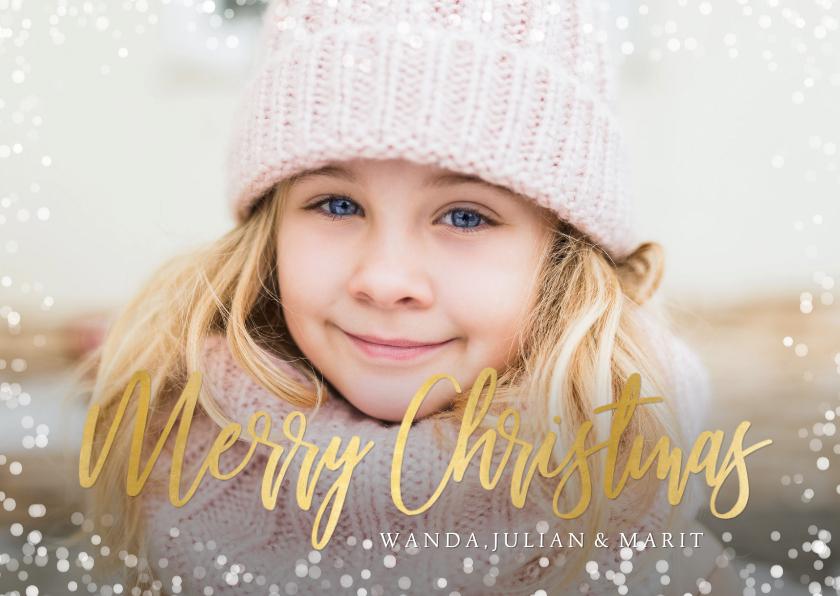 Kerstkaarten - Hippe kerstkaart met grote eigen foto en sneeuw kader rondom