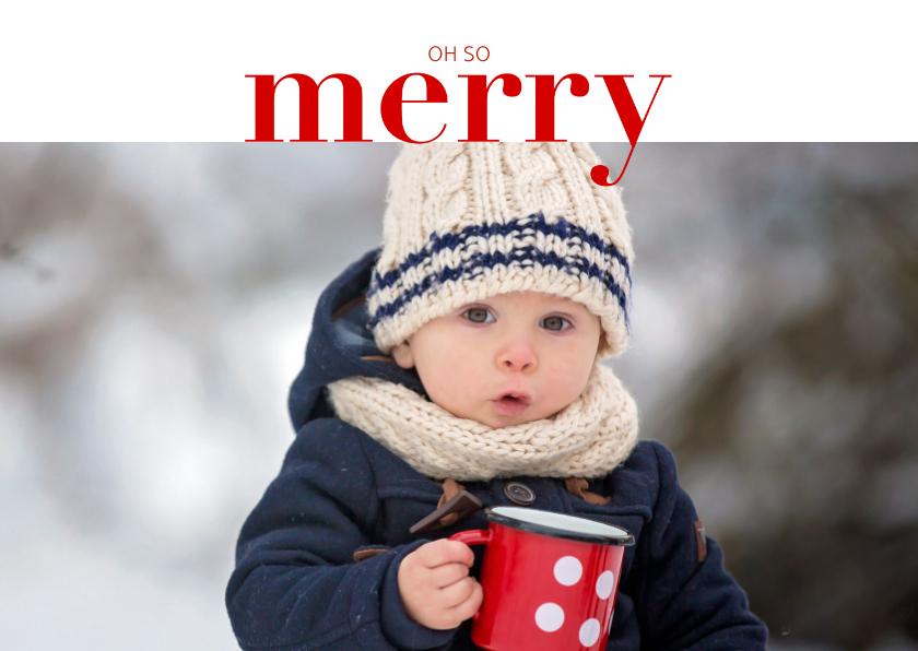 Kerstkaarten - Hippe kerstkaart met grote foto en merry in rode letters