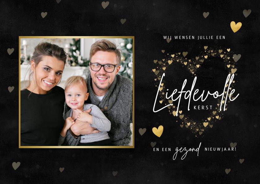 Kerstkaarten - Hippe kerstkaart met hartjes, foto en liefdevolle kerst