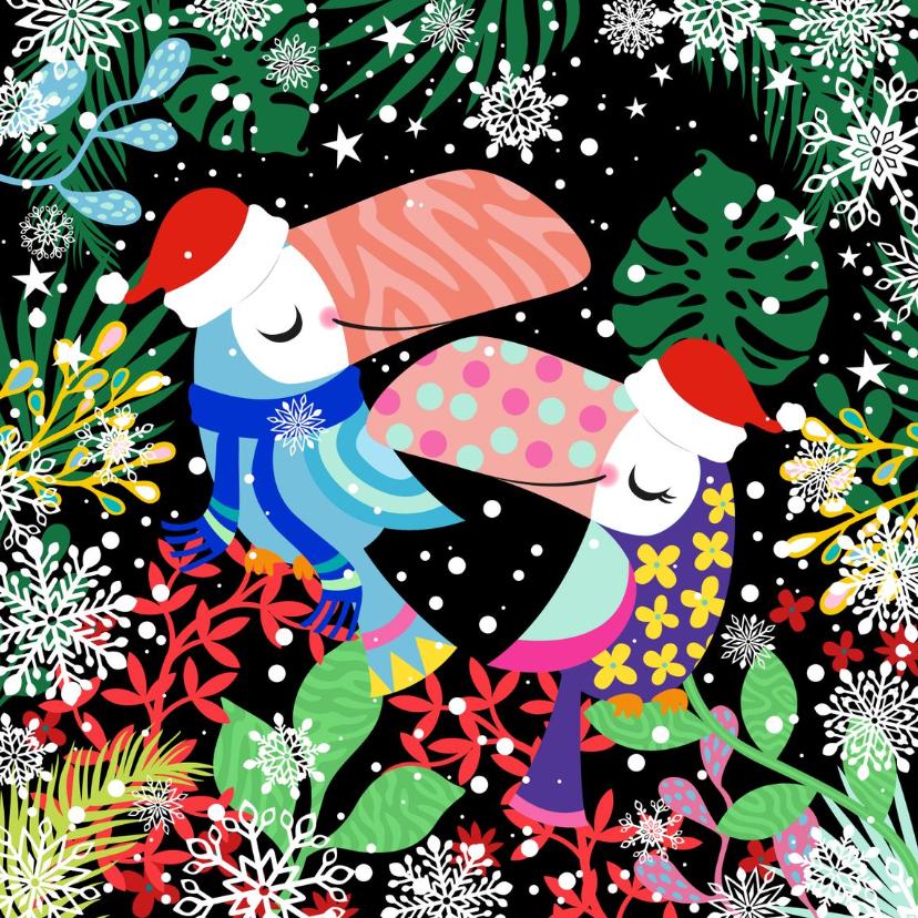 Kerstkaarten - Hippe kerstkaart met toekans en planten in de sneeuw