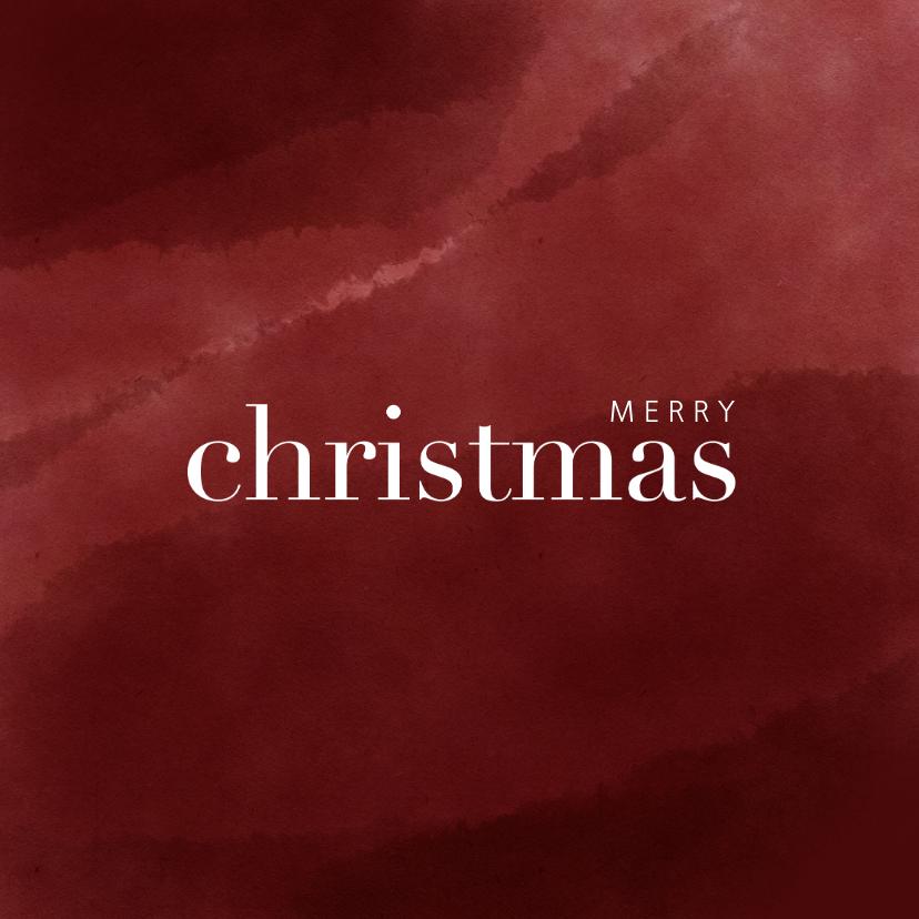 Kerstkaarten - Hippe kerstkaart met waterverf en merry christmas