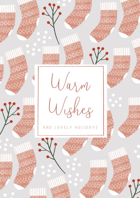 Kerstkaarten - Hippe kerstkaart Warm Wishes sokken patroon en sneeuw