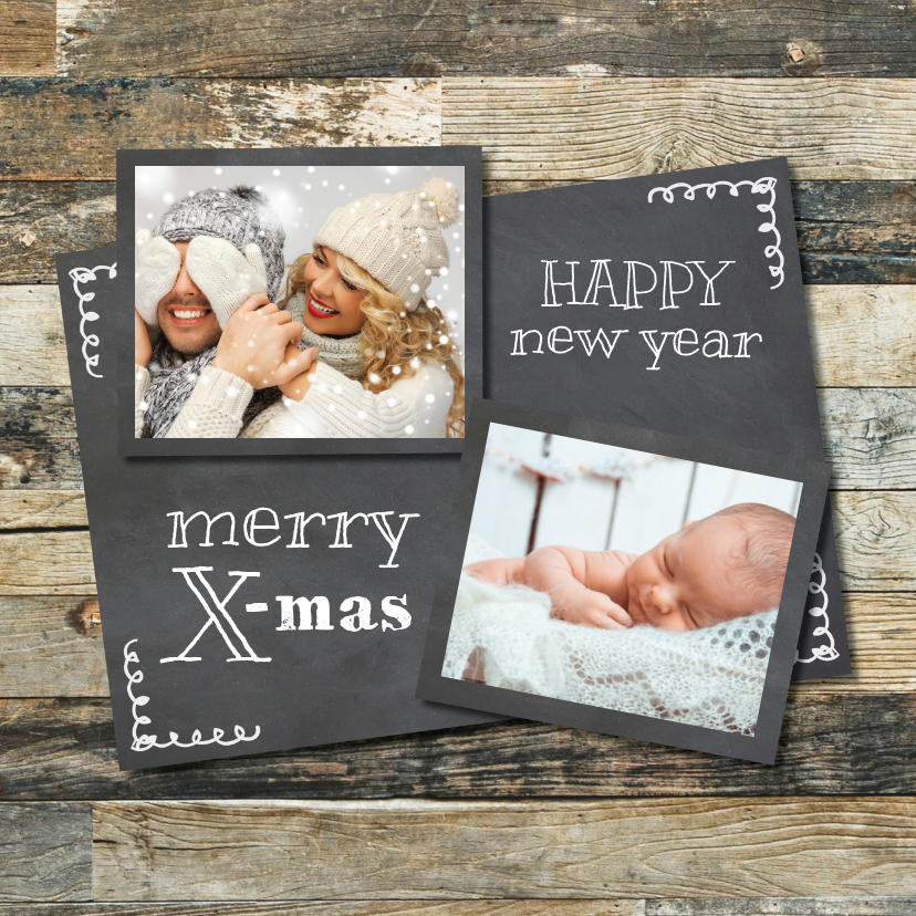 Kerstkaarten - Hippe krijtbord kerstkaart - foto collage