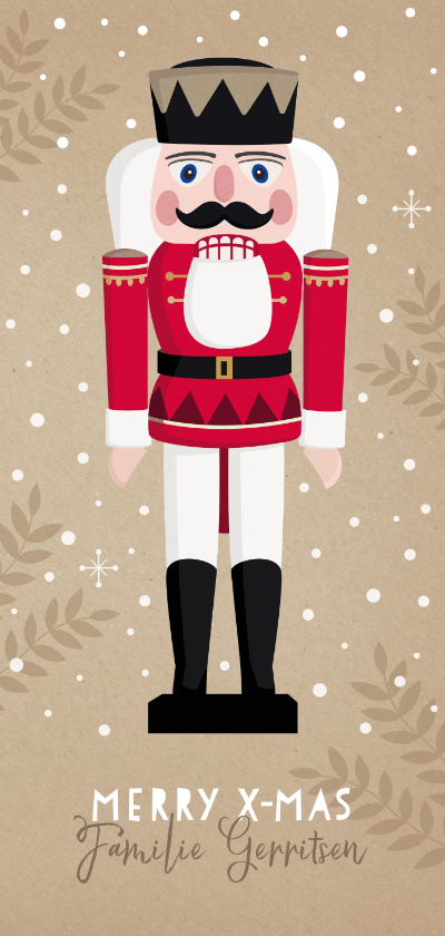 Kerstkaarten - Hippe langwerpige kerstkaart met notenkraker illustratie