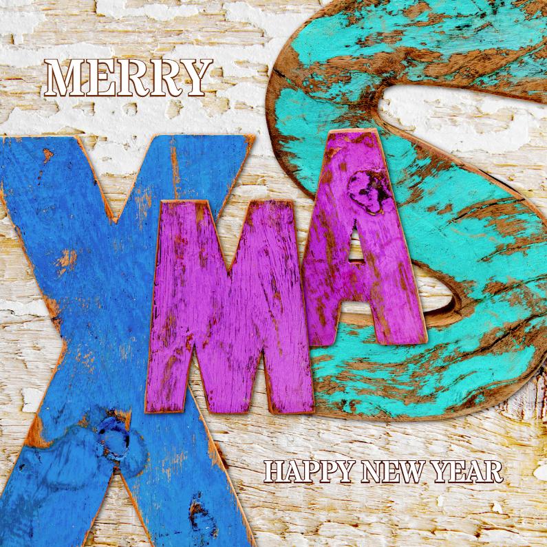 Kerstkaarten - Hippe XMAS letters hout - OT