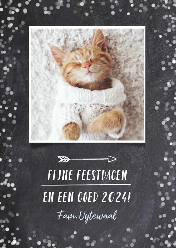 Kerstkaarten - Hipper zwart witte confetti kerstkaart met eigen foto