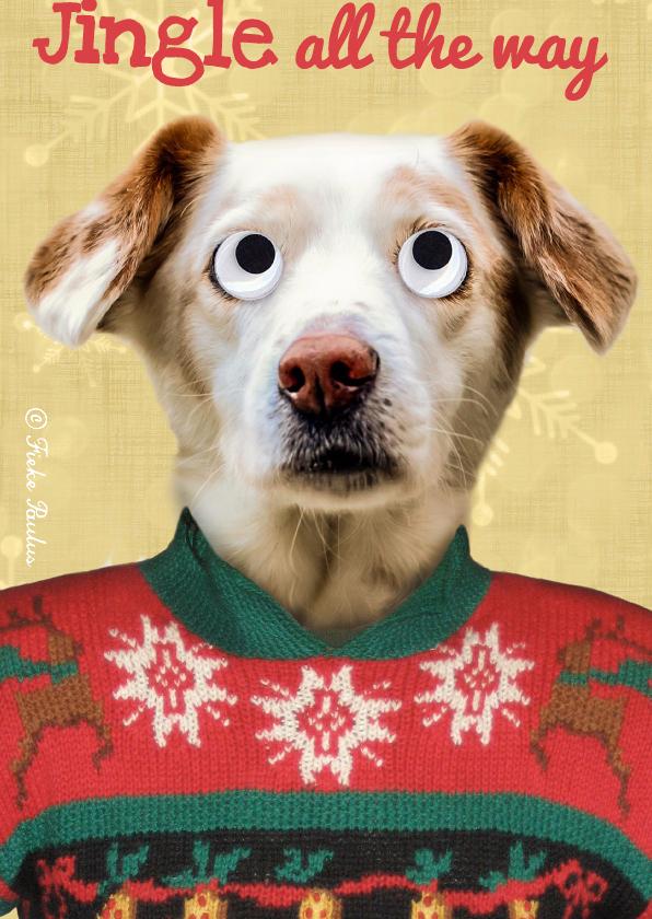 Kerstkaarten - Hond met vintage kersttrui
