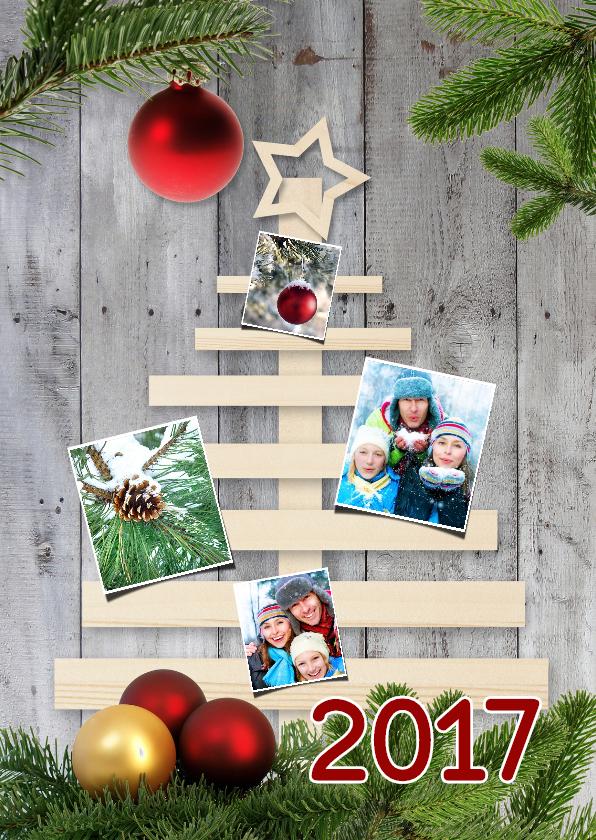 Kerstkaarten - Houten kerstboom 4 foto's - DH