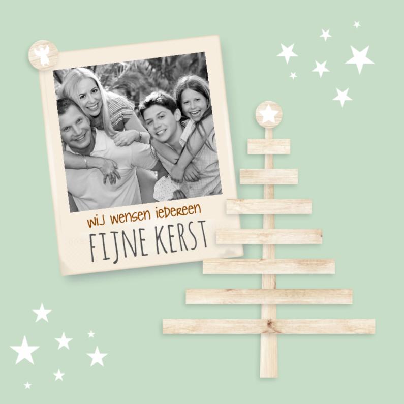 Kerstkaarten - Houten kerstboom met foto-isf