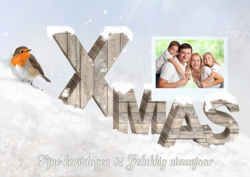 Kerstkaarten - Houten letters met fotokader