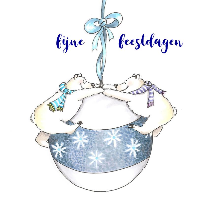 Kerstkaarten - ijsberen met kerstbal