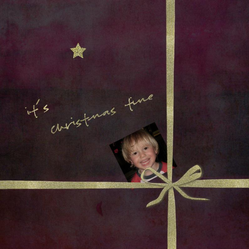 Kerstkaarten - it's cristmas tme met strikje