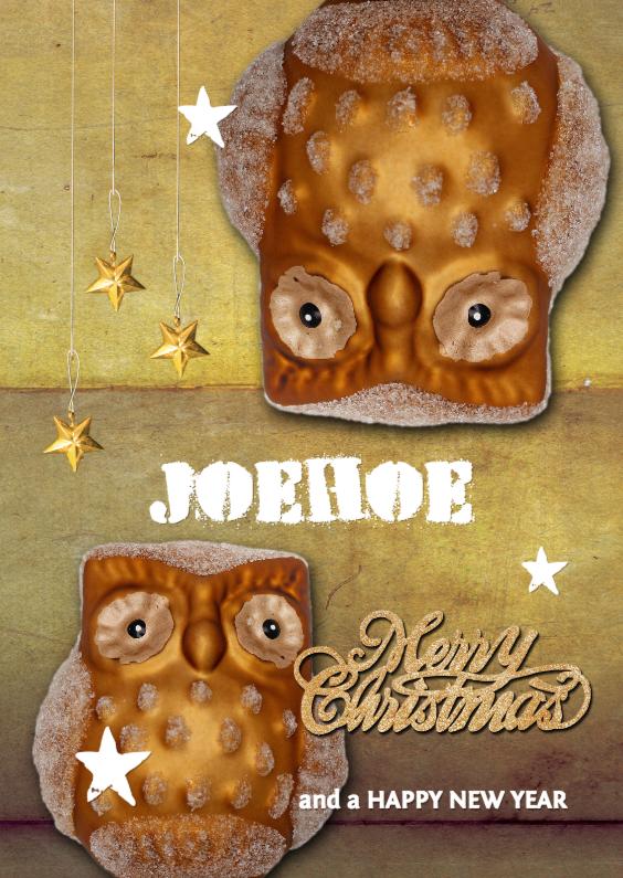 Kerstkaarten - JOEhoe kerstkaart gouden uil 1