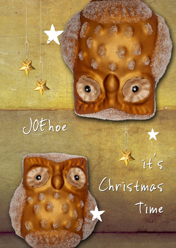 Kerstkaarten - JOEhoe kerstkaart gouden uil 2