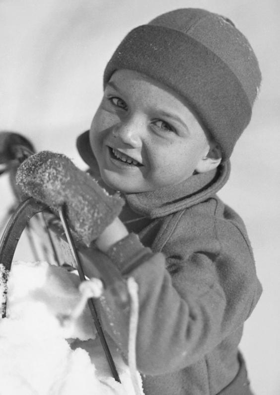 Kerstkaarten - Jongetje met slee-isf