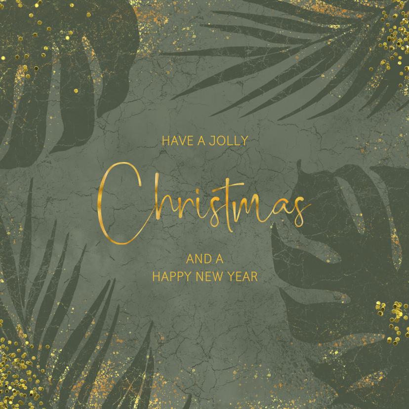Kerstkaarten - Jungle kerstkaart grunge en goudlook