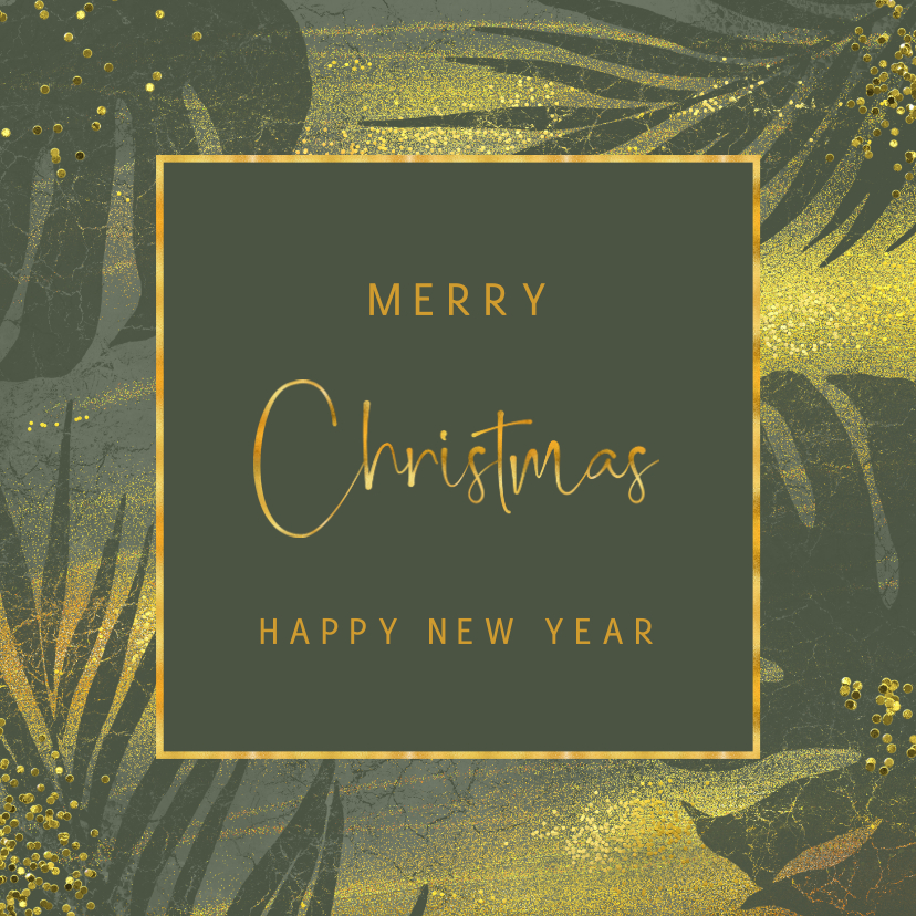 Kerstkaarten - Jungle kerstkaart met goud en grunge